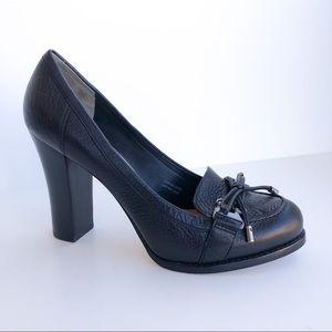 Via Spiga Venus Chunky Loafer Heels Black